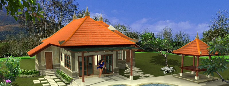 3D design of a villa under construction in the north of Bali